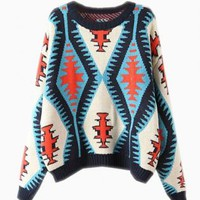 Blue & Red Waffle Knit Patterned Sweater