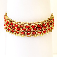 Multi Chain Red and Gold Bracelet - Gold Plated Bracelet - Stacked Chain Bracelet