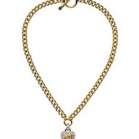 Pave Heart Chain Link Necklace