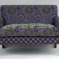 Purple Jangala Salon Settee by Mary Lynn OShea: Upholstered Sofa | Artful Home