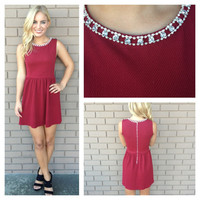 Burgundy Crystal Neckline Babydoll Dress