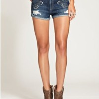 GUESS Women's Scarlet Denim Shorts with Western Embellishments