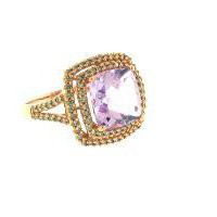 14K Rosegold Diamond and Cushion Shape Pink Amethyst 3.82 Carat Size 7 1/4 Ring - Rings - Jewelry | Portero Luxury