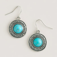 TURQUOISE AND SILVER ROUND DROP EARRINGS