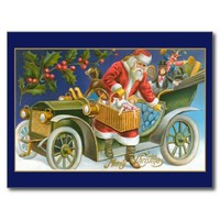 Vintage Santa Old Car Postcard