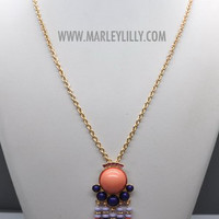 Coral I Came In Like A Wrecking Ball Long Statement Necklace