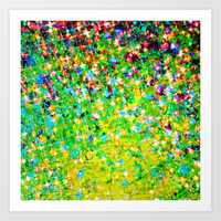 HOLIDAY CHEER - Bold Christmas Festive Green Red Yellow Sparkle Stars Glitter Bling Abstract Art Art Print by EbiEmporium