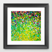 HOLIDAY CHEER - Bold Christmas Festive Green Red Yellow Sparkle Stars Glitter Bling Abstract Art Framed Art Print by EbiEmporium