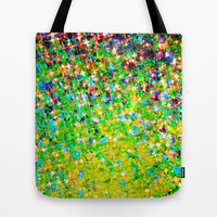 HOLIDAY CHEER - Bold Christmas Festive Green Red Yellow Sparkle Stars Glitter Bling Abstract Art Tote Bag by EbiEmporium