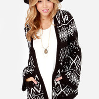 Element Eden Eisley Ivory and Black Cardigan Sweater
