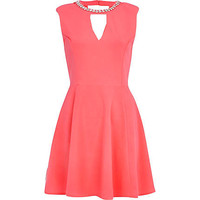 PINK EMBELLISHED NECK CUT OUT SKATER DRESS
