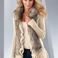 Cream Multi (CRMU) Faux Fur Ruffle Sweater