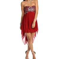 Florie- Red Strapless Hi Lo Dress