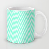 Chevron Mint Green Print Mug by productoslocos