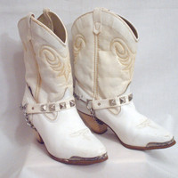 Vintage White Cowboy/Cowgirl Distressed Boot Capezio