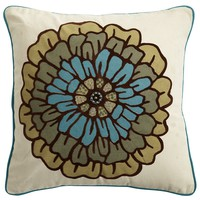 Flocked Floral Pillow
