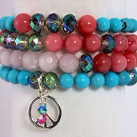 "Peace Bracelet Stack, Yoga Stack, Yoga Bracelet, Gemstone Bracelet: Rose Quartz, Jade & Chalk Turquoise, Color Inspired ""Make Art Not War"""