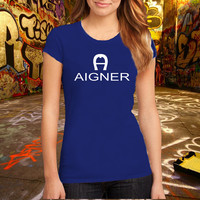 Aigner Brand Fashion Logo Tee Cotton T Shirt, (Various Color Available)
