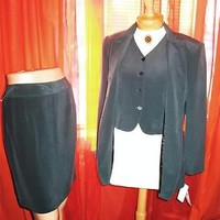 JONES NEW YORK SUIT NIAGARA SKIRT ,TOP W JACKET  LINED! SIZE 10/6!