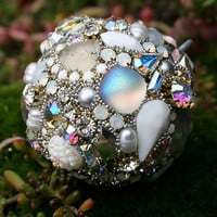 Vintage Crystals Rhinestones Ball Orb Sphere Ornament - w/ Freshwater Pearls Winter's Kiss