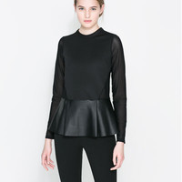 COMBINED FAUX LEATHER T-SHIRT
