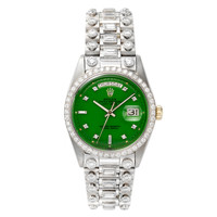 ROLEX White Gold, Diamond and Green 'Stella' Dial Wristwatch