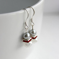 Light Gray, Red, and Opaque White Small Beaded Dangle Earrings - Handmade Feminine Jewelry - Crystal Earrings - Ready to Ship
