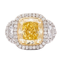 5.33ct Natural Fancy Intense Yellow Diamond Ring