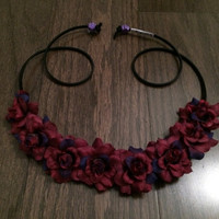 Wine Rose Flower Headband, Ezoo, Flower Crown, Flower Halo, Festival Wear, EDC, Bridal, Coachella, Ultra Music Festival, Rave