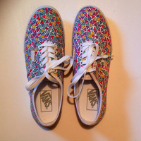 Free Shipping - Custom Multicolor Triangle Vans - Size 6 7 8 9 10 11