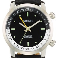 Jack Spade 'Stanton' Dual Time Leather Strap Watch, 43mm | Nordstrom
