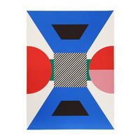 Vintage Modernist Screen Print Blue Red - Kumi Sugai 1970s