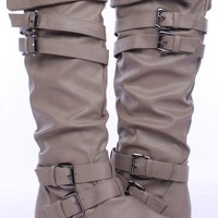 TAUPE FAUX LEATHER STRAPPY BUCKLE KNEE HIGH BOOTS