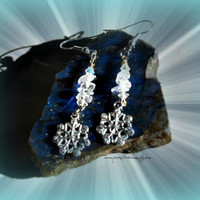 Snowflake earrings, Dangle, Quartz, Ready to ship, Direct Checkout,