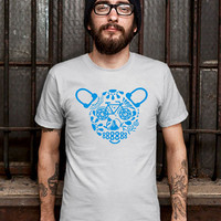 Woodland tee Day of the Dead Bicycle tshirt Silk Screened Turquoise T-Shirt Mens Design T Shirt for Men (Various Color Available)