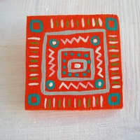 Orange and turquoise wood brooch, eco friendly jewelry, geometric tribal pattern