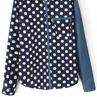Paneled Dotted Button-up Shirt