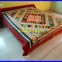Hippie Bohemian Patch Applique Gypsy Bed Sheet Bed Spread, Bed cover,Mandala Indian Tapestry Cotton Carpet rug In Tradional Jaipur color