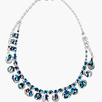 BLUE PAINT & CRYSTAL NECKLACE