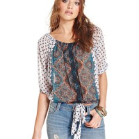 American Rag Short-Sleeve Printed Peasant Top