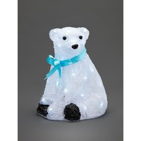 Konstsmide Small Sitting Baby Polar Bear with Blue Ribbon and White LED's - Konstsmide from Castlegate Lights UK