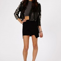 Missguided - Lennia Wrap Over Mini Skirt In Black