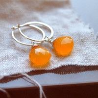 Mango heart briolette dangle earrings detacheable in medium hoop sterling silver