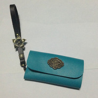 Vintage Key Holder Genuine Leather with Wristlet Handle Blue Green