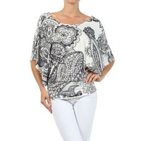 Black and White Dolman Sleeve Top Womens