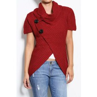 Red Cowl Neck Buttons Sweater Womens