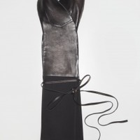 Black Leather and Wool Scarf | NOT JUST A LABEL