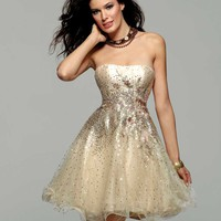 Clarisse 2013 Prom 2012 Homecoming Gold and Creme Short Strapless Sequin Gown 2032 | Promgirl.net