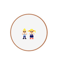 EASY hand embroidery pattern of 2 Kids. Use it to create DIY Pin, Birthday invite or thank you card. Pattern in Dutch, English, Spanish