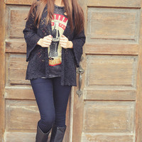 Lace For Days Cardigan: Black